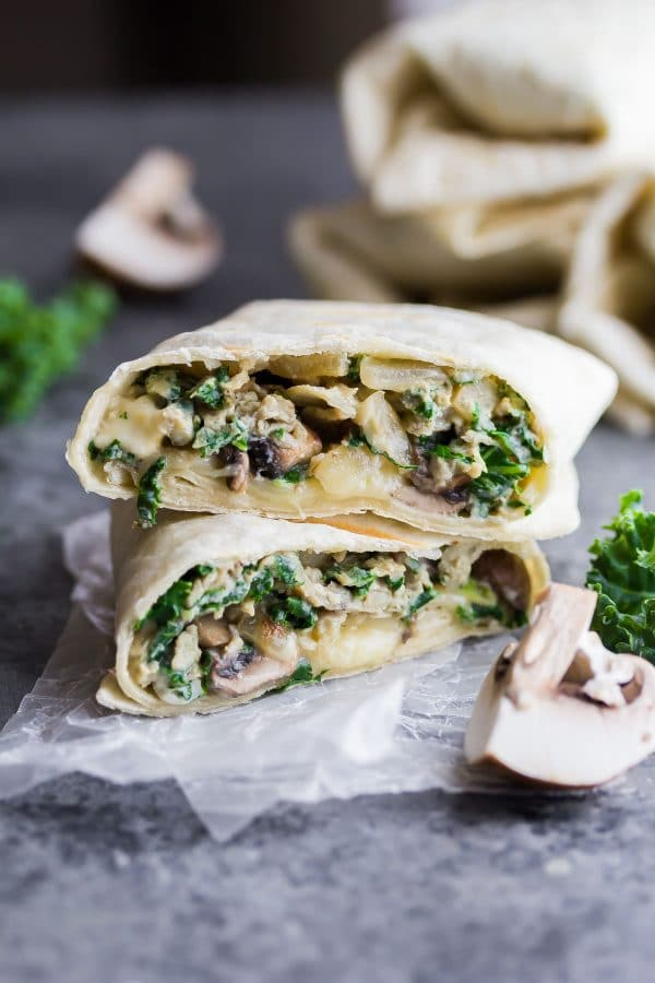 A sweet pea wrap with mushroom and lettuce.