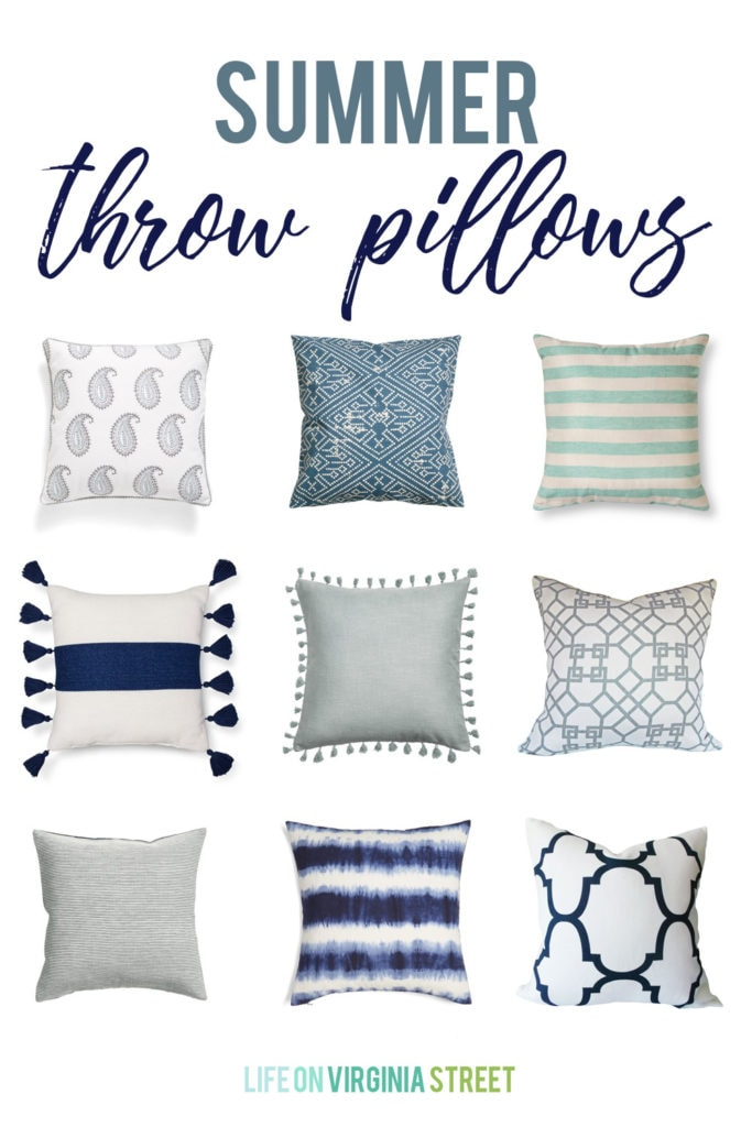 More Summer Throw Pillows! A collection of the cutest and most stylish summer throw pillows. Many of which are under $25! Love the stripes, tassels, and graphic patterns on these blue, navy and white pillows.