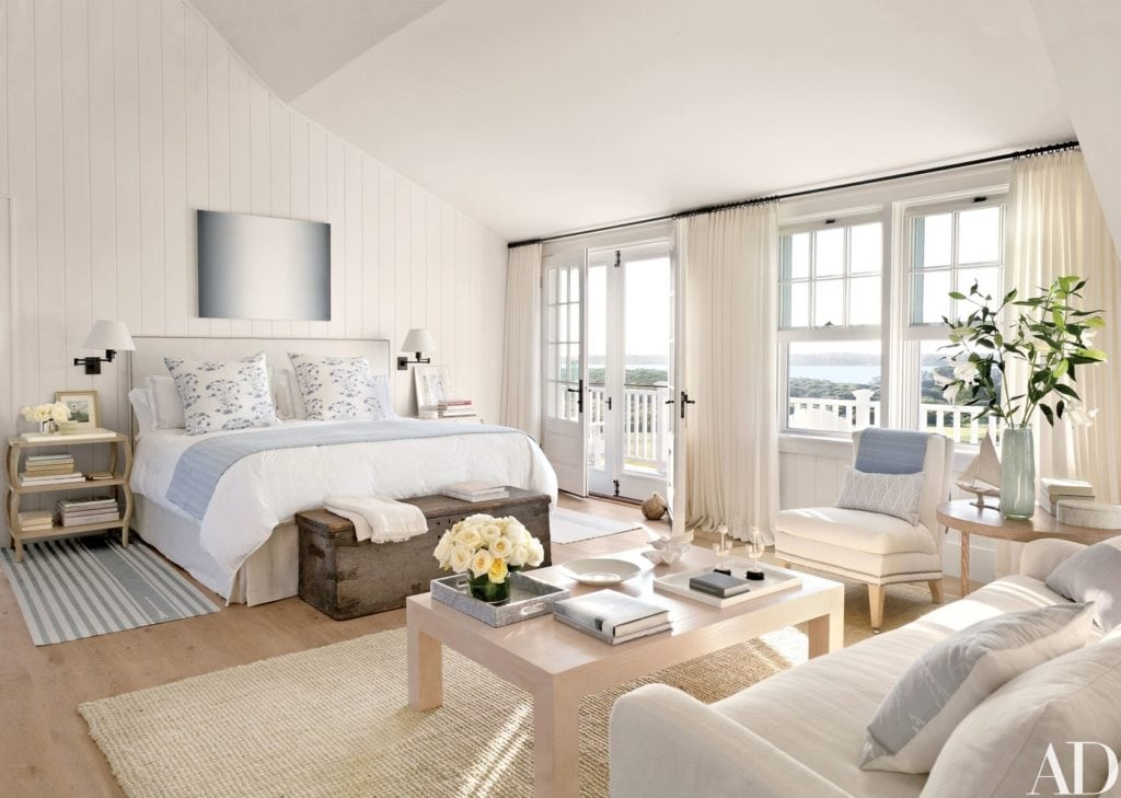 Blue and White Master Bedroom by Victoria Hagan via Architectural Digest