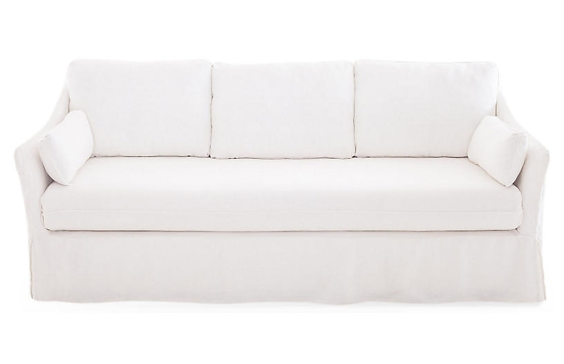 slip covered sofas right armrest with piping right