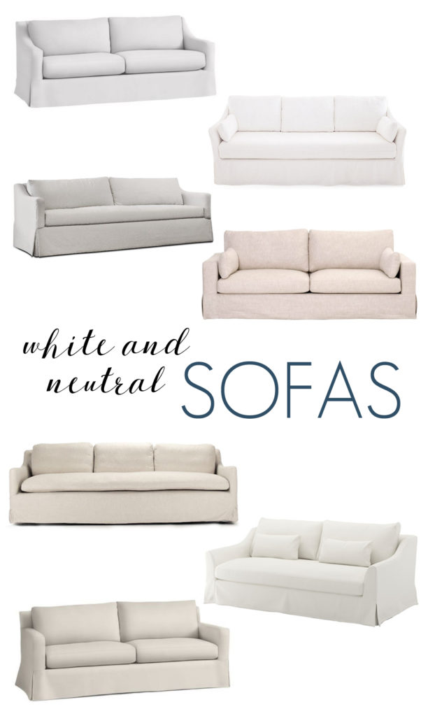 A gorgeous curated collection of white and neutral sofas that are polished but casual in linen and durable canvas fabrics.