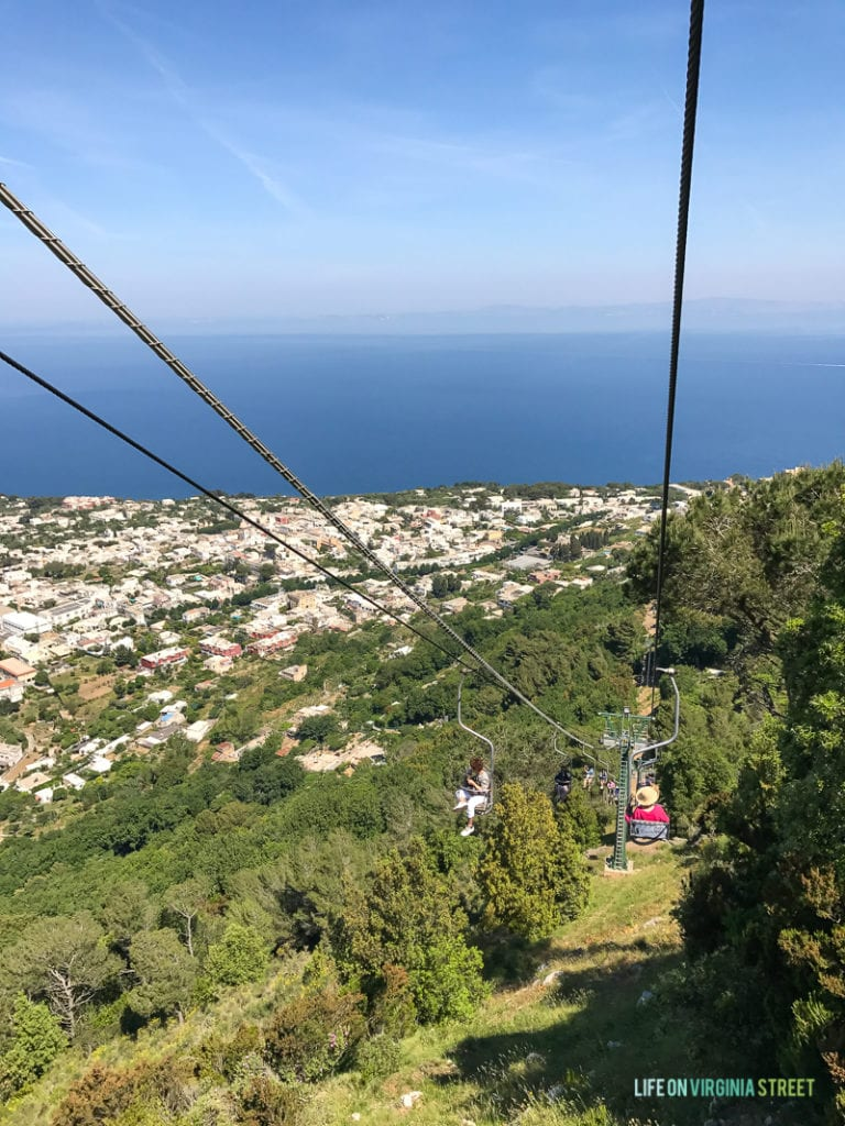 A chairlift to the top of the mountain in Capri.