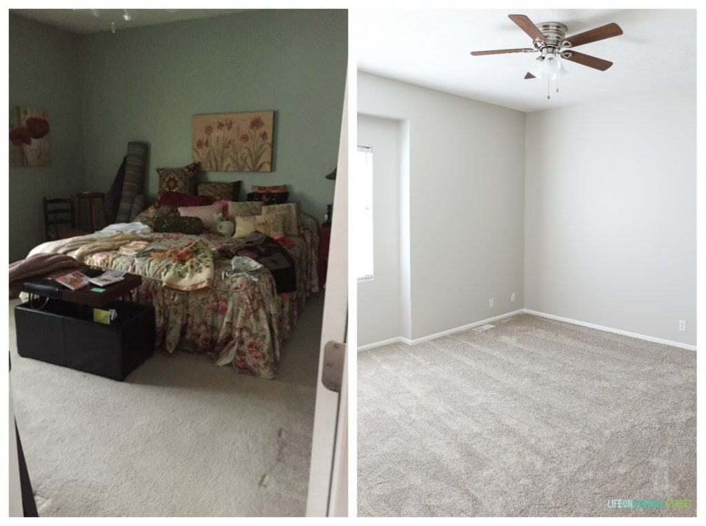 Master bedroom before and after. New paint color is Sherwin Williams Agreeable Gray.