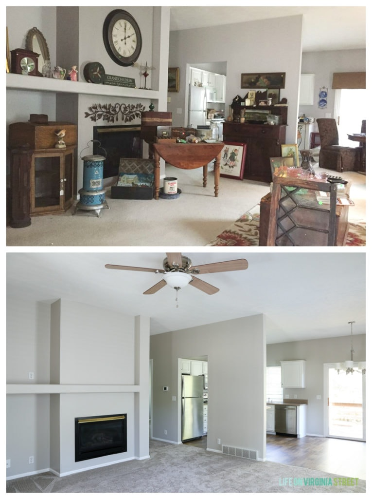 Rental house before and after makeover. The before picture has the dark walls, now all painted a fresh white.
