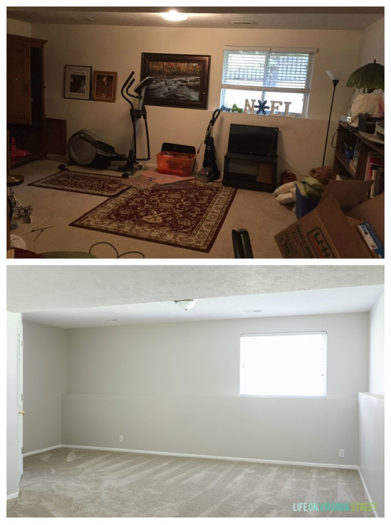 Rental house basement before and after. New paint color is Sherwin Williams Agreeable Gray. Carpet is Dream Weaver Cosmopolitan in Mocha from Nebraska Furniture Mart.
