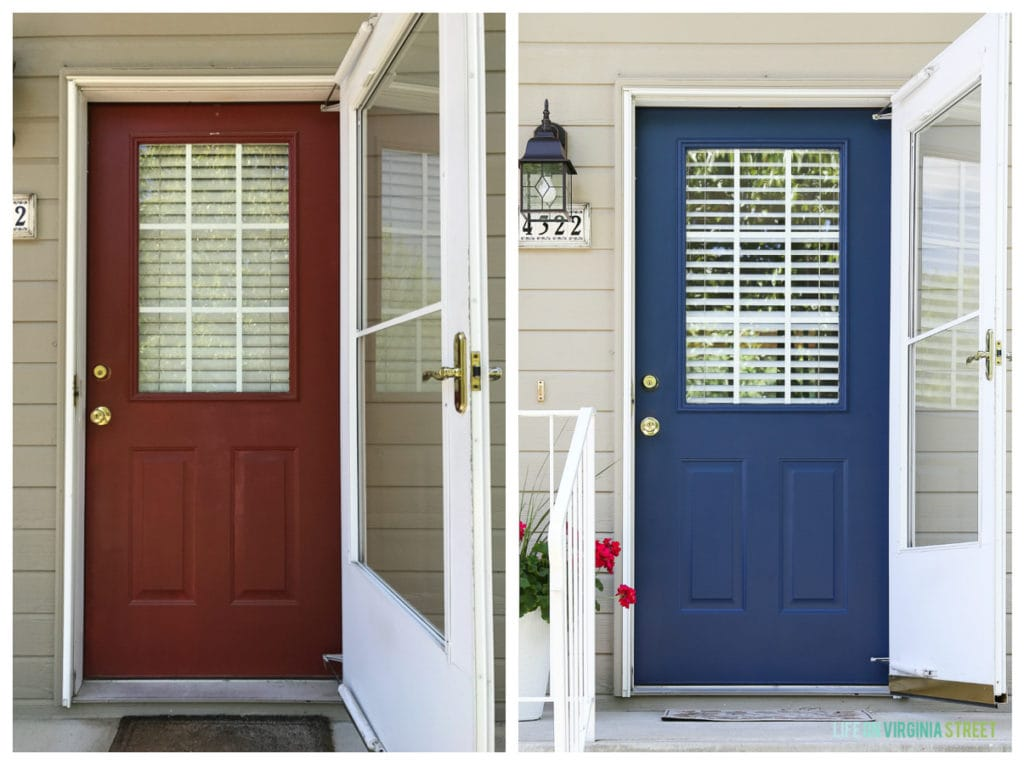 Rental House front door before and after. New color is TrueValue's Ink Pad.