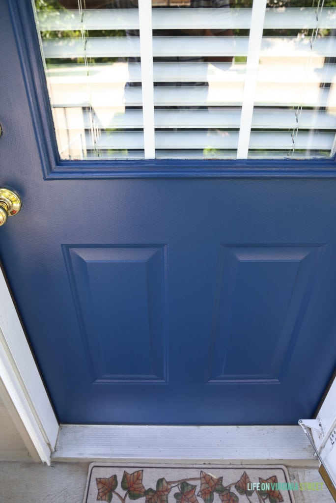 The completed door in TrueValue's Easy Care Ultra Premium in Ink Pad. What a beautiful color!