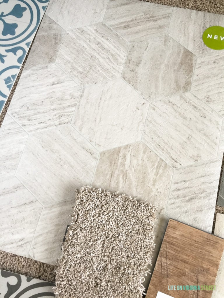 The tiles for the floor in a neutral color.