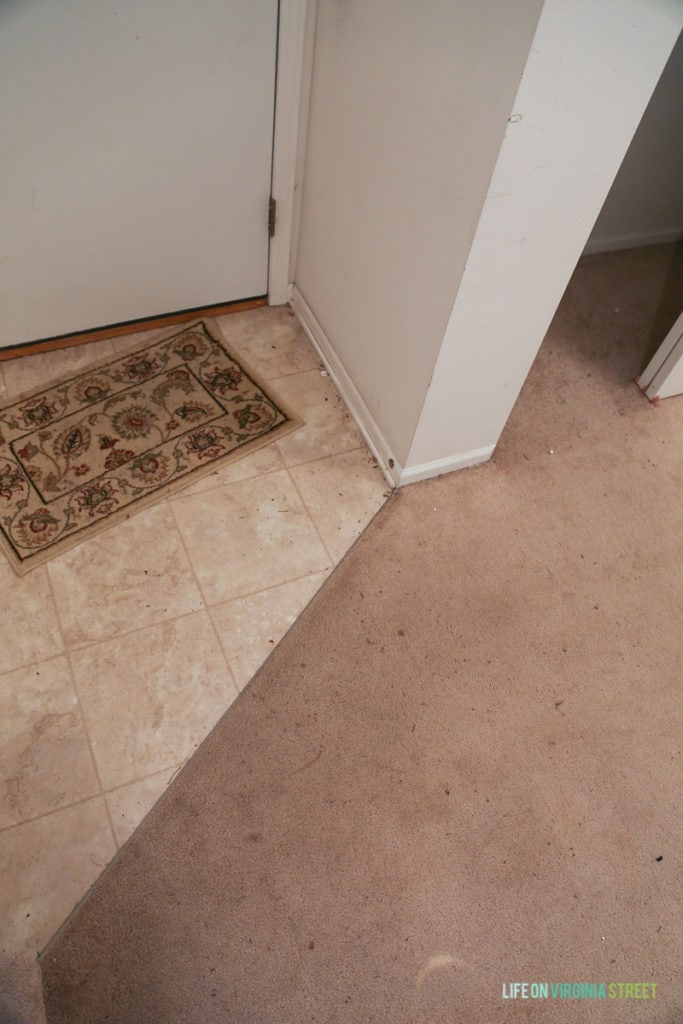 Dirty carpet and flooring.
