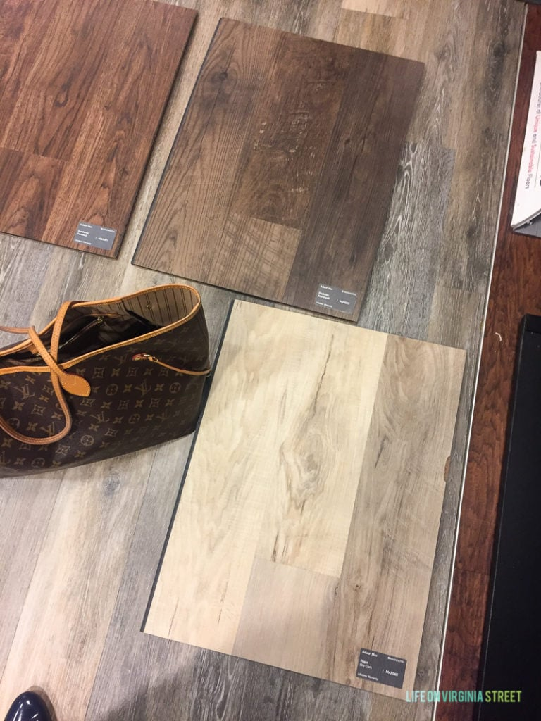 Picking the flooring from the samples.