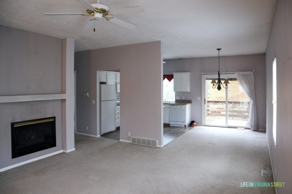 Lavender grey walls in the house, with a ceiling fan.