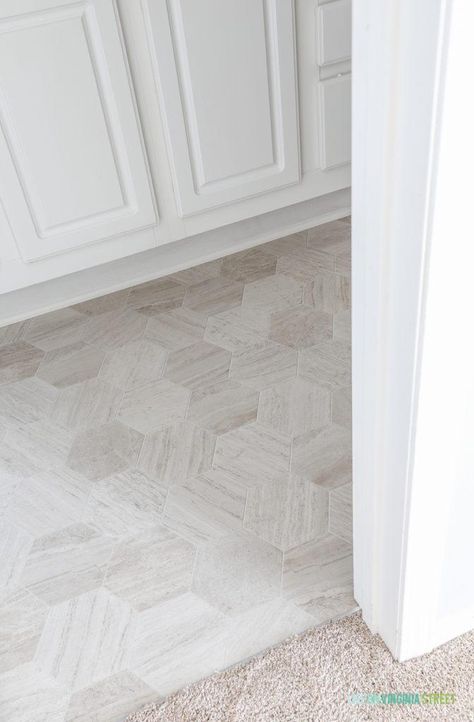 Bathroom floor makeover is using Mannington Luxury Vinyl in Hive Pollen.