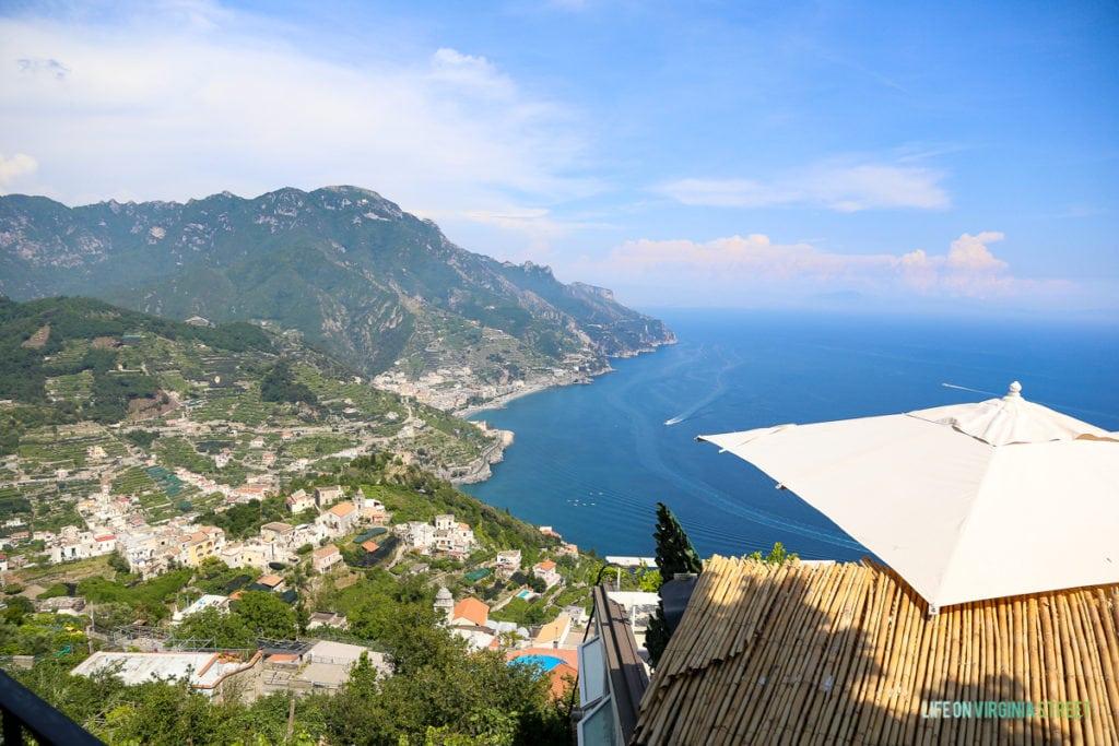 Aerial view of the coastline of the Amalfi Coast.