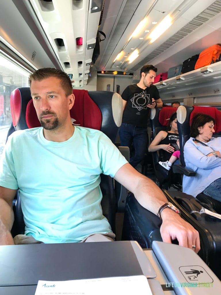 Sitting on a crowded Italian train.