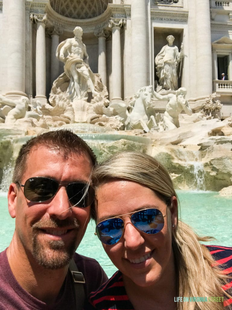 A selfie in front of the Roman fountain.