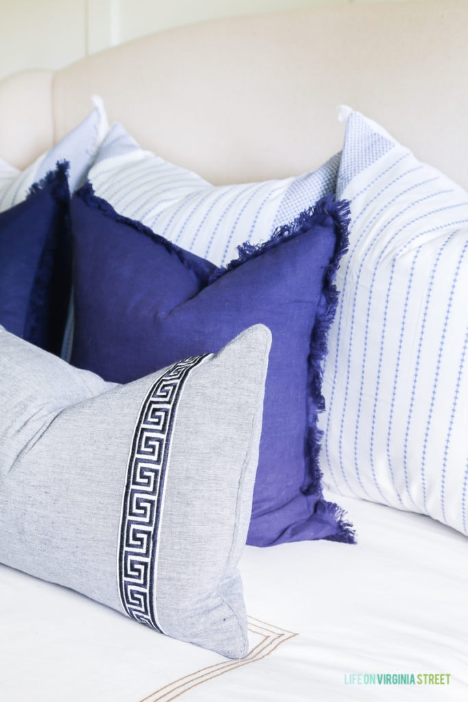 A combination of pretty blue pillows!