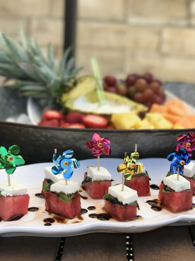 Watermelon caprese appetizers