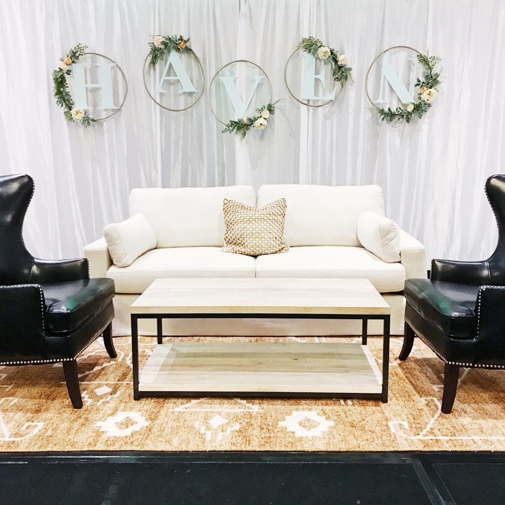 Couch vignette set up at the Haven conference.