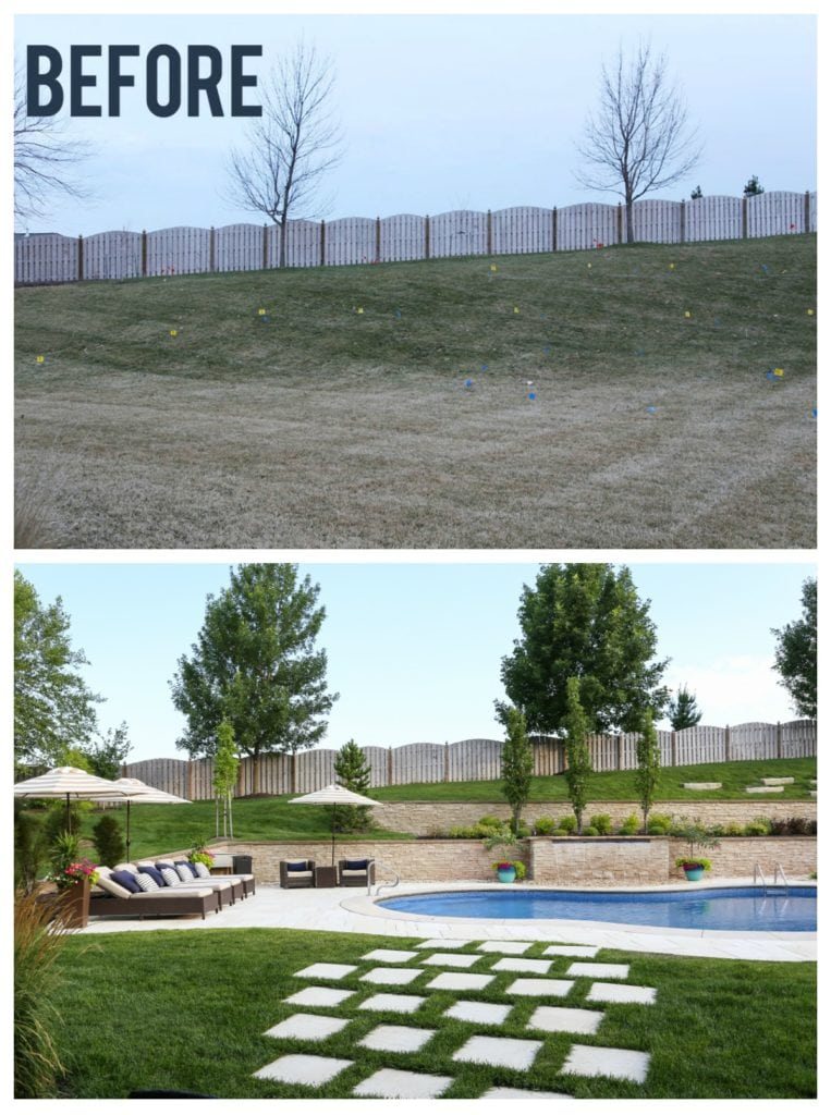 Gorgeous backyard pool renovation. Loving the concrete travertine pavers, checkerboard pathway, navy blue and white striped pillows, neutral decor and beige and white striped umbrellas. Great tips and recommendations on owning a pool.