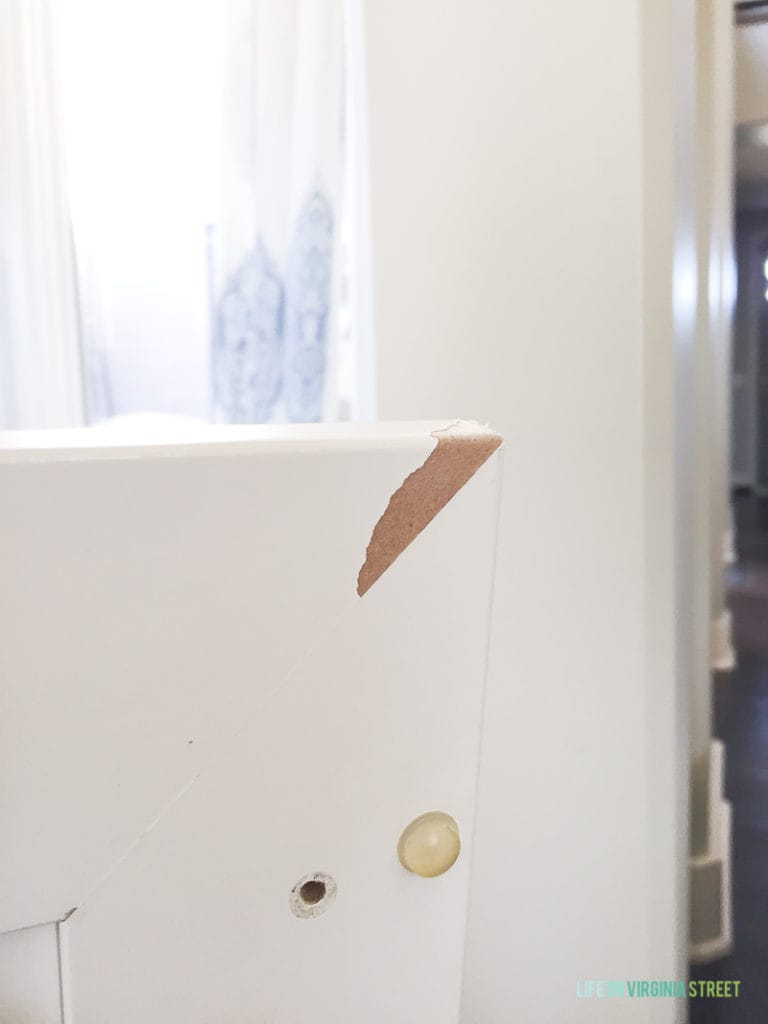 Example of a peeling thermofoil cabinet.