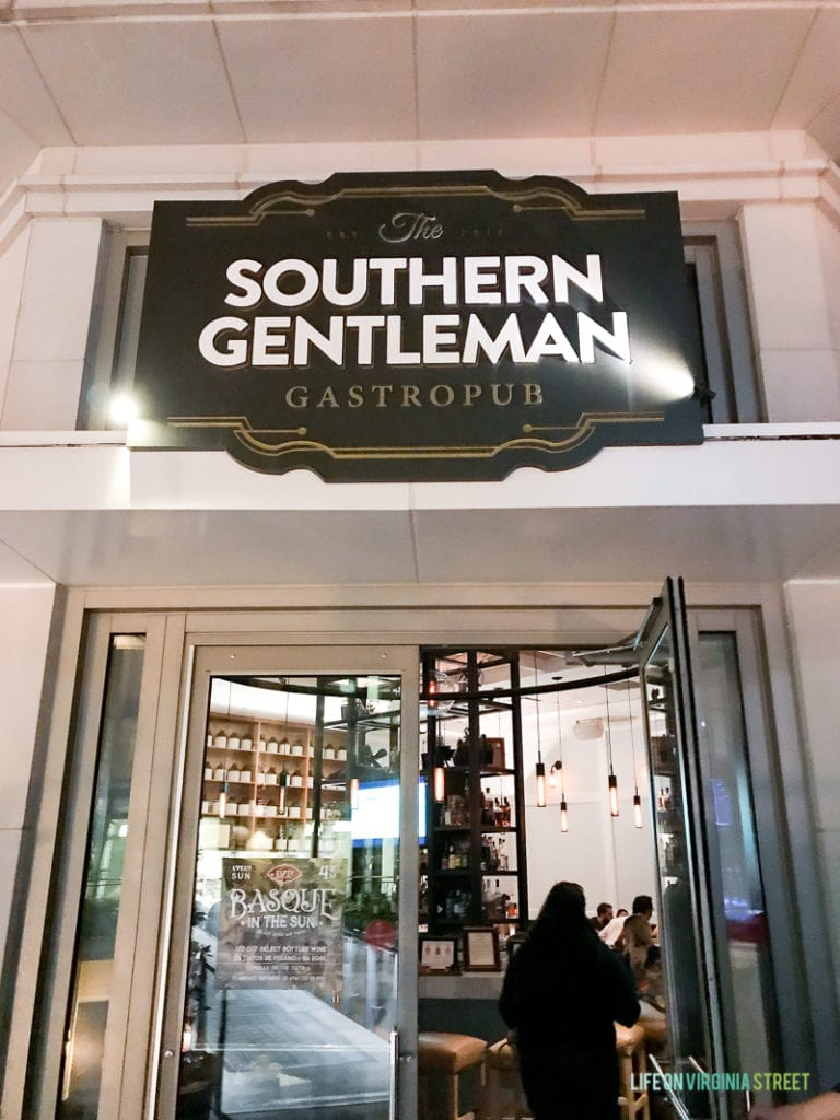 At the Southern Gentleman Gastropub during our trip.