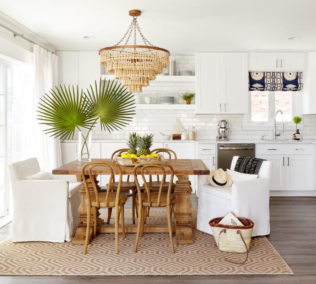 Beachy White Kitchen with Wood Accents via Stephanie Kraus Designs