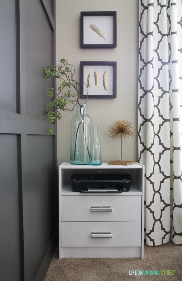 We used this IKEA Rast unit for our printer stand. I love the look with the silver handles.
