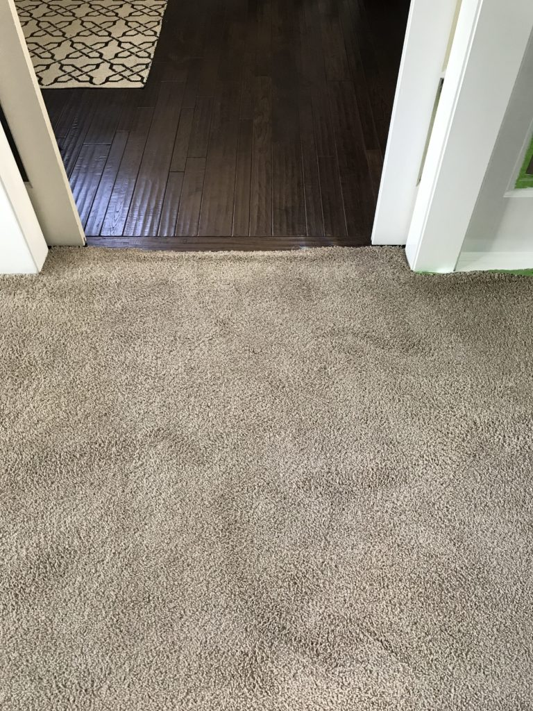 Our tan carpet had buckling and was ready for a replacement. This was our only carpeted room.