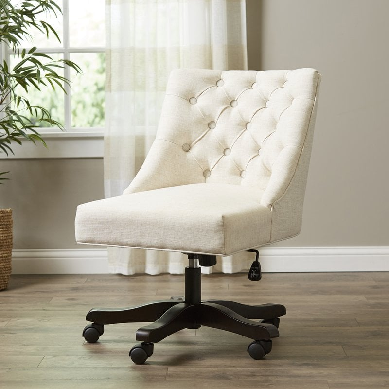 Linen-like Tufted Swivel Office Desk Chair