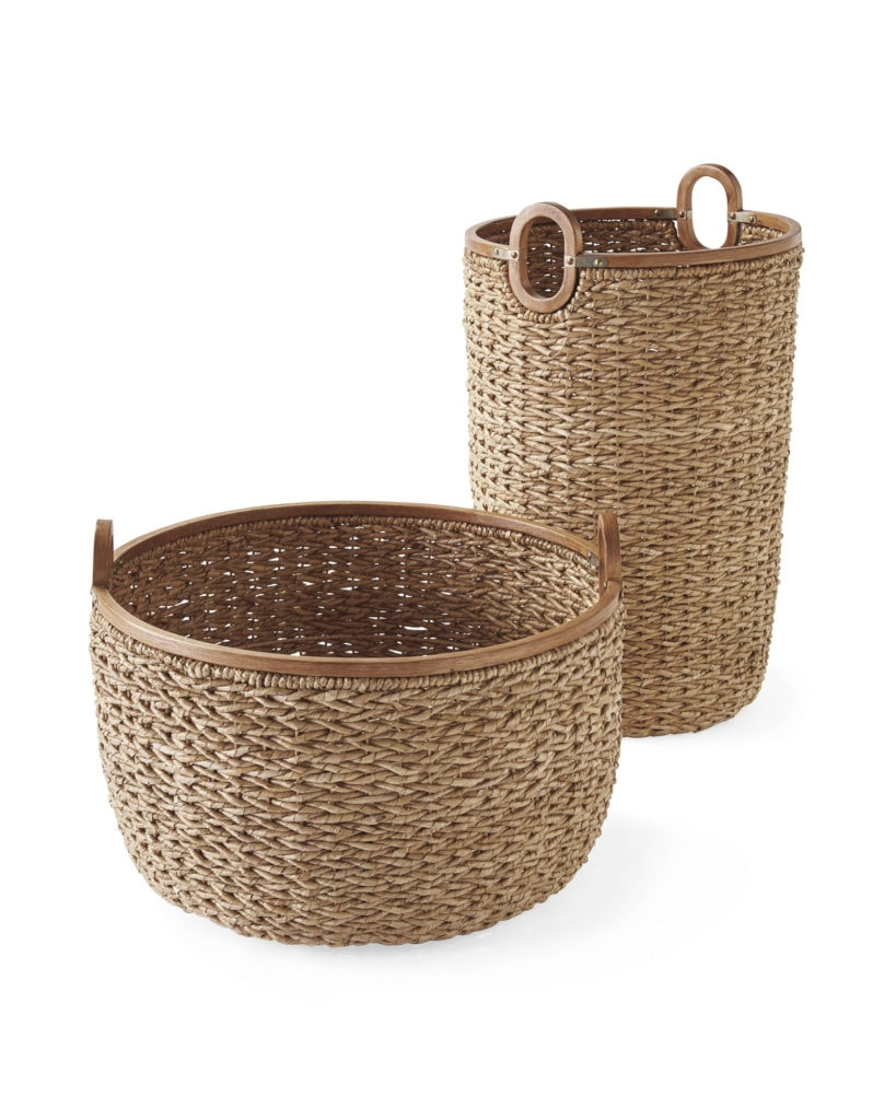 Seagrass, Wood and Galvanized Metal Baskets