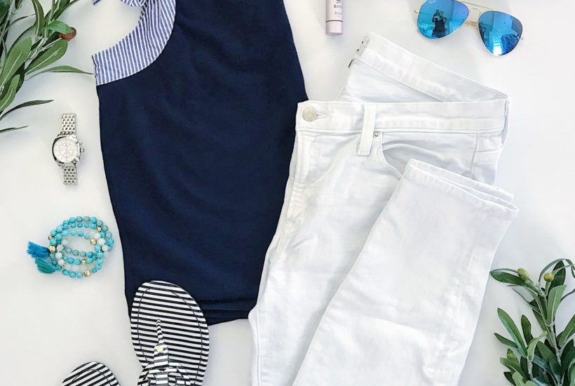 Navy Blue and White Striped Summer Outfit