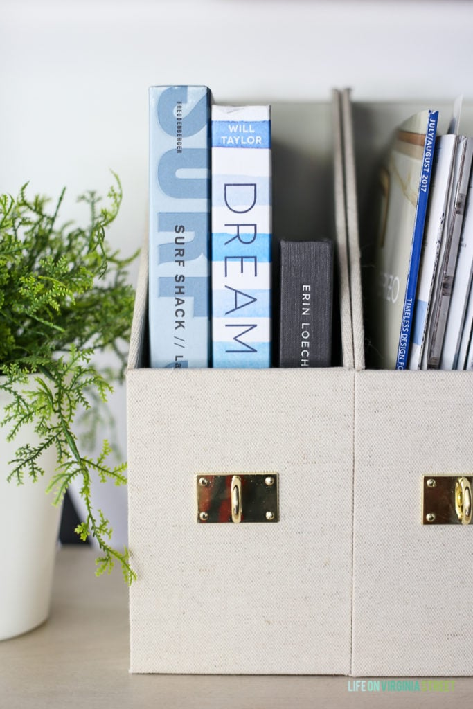These linen and gold office supplies are perfect for the look we wanted.