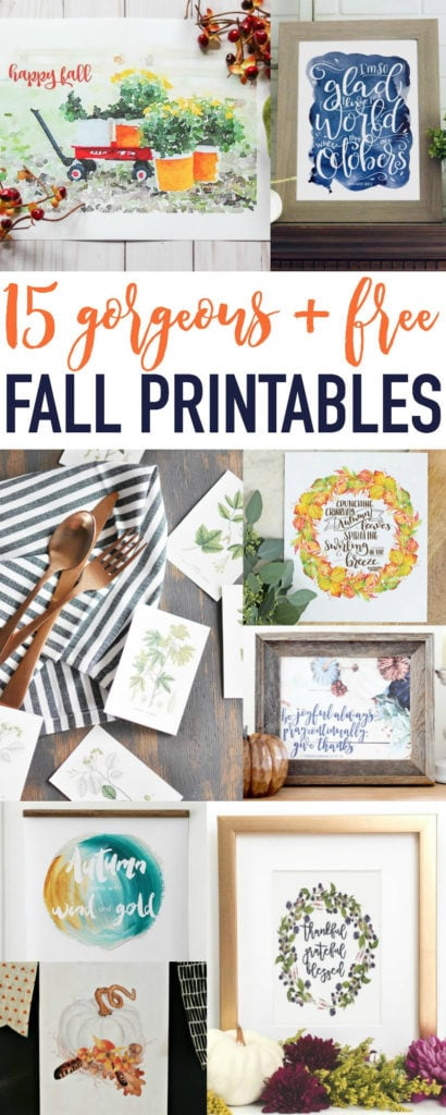 15 gorgeous and free fall Printables poster.
