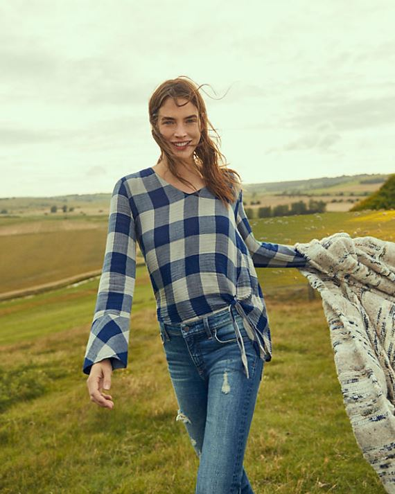 Buffalo Check Top with Flare Sleeves