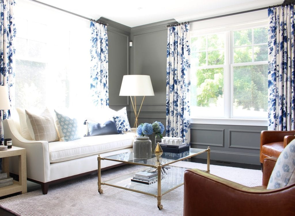 Dark Gray and Blue and White Floral Living Room