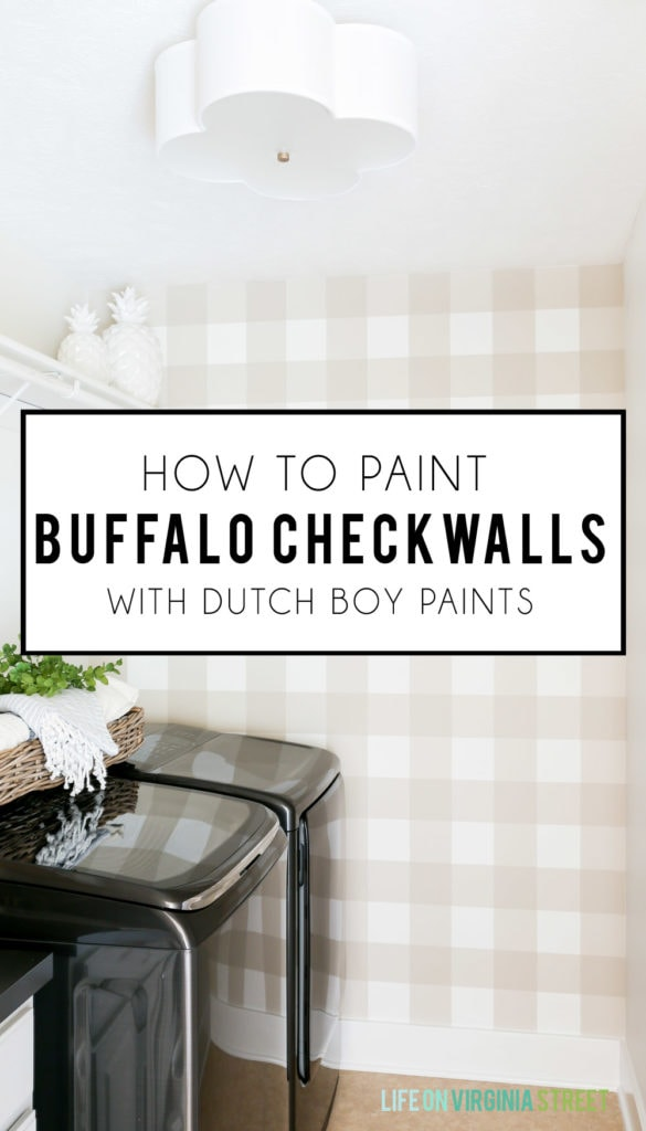 Gorgeous laundry room updating using Dutch Boy Paints to create a beige and white buffalo check wall using Sandstone Tint (441-2DB), the brand's 2018 Color of the Year! Full tutorial includes step-by-step details on how to paint buffalo check patterns. #ad