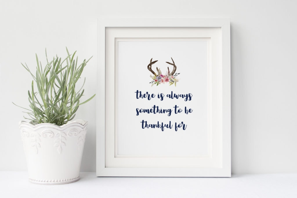 There is always something to be thankful for saying with antlers and flowers framed in a white frame.