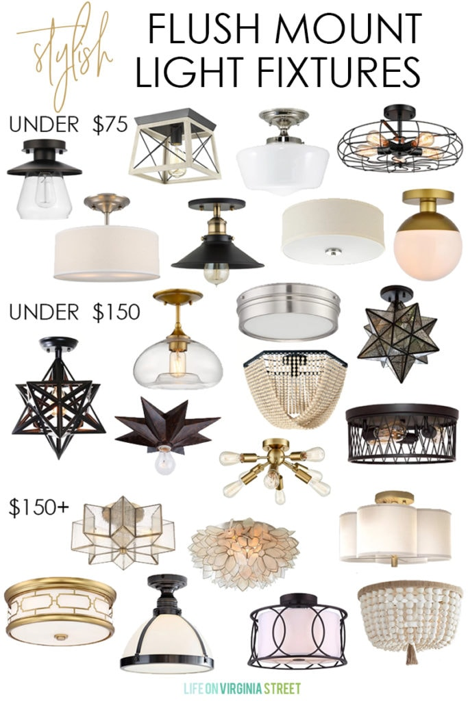 """A huge collection of stylish flush mount light fixtures for all decorating styles and budgets! Updating your lights is a great way to up the """"wow"""" factor in any your rooms!"""