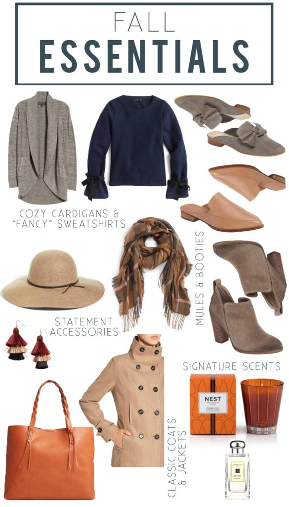 Fall Essentials including cozy cardigans, fancy sweatshirts, best booties and mules, best fall candle, and statement accessories.