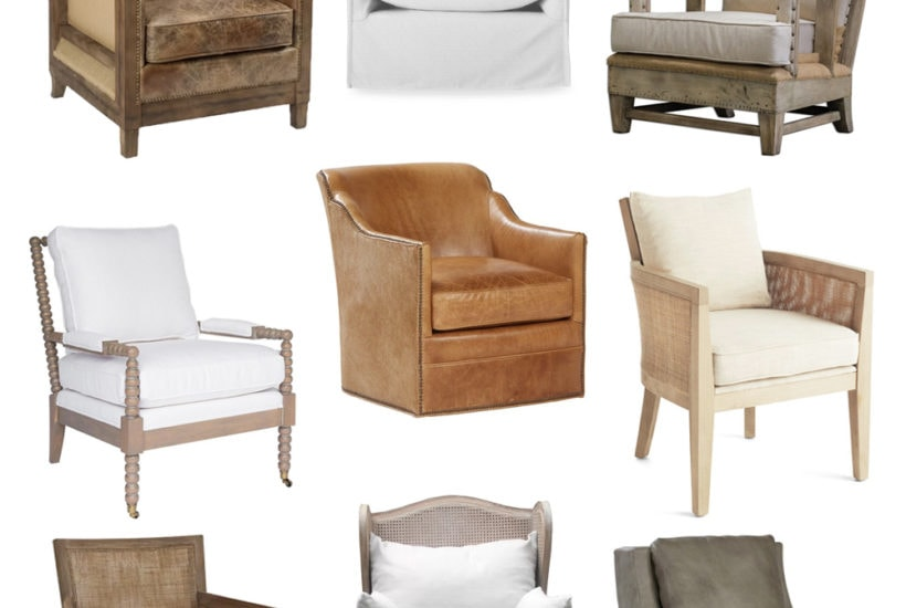 A collection of living room chairs perfect for coastal or beachy style traditional homes. Includes a variety of cane chairs, spindle chairs, leather chairs and upholstered chairs.