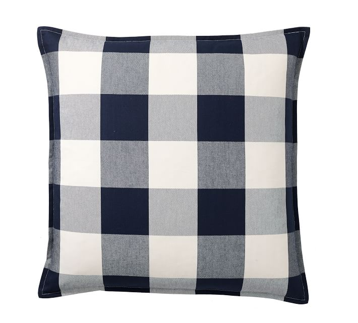 This is such a cute navy blue buffalo check throw pillow!