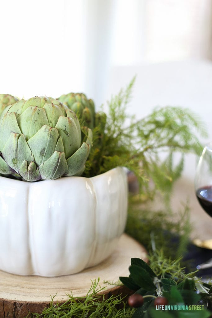 The centerpiece of the Thanksgiving Tablescape was an artichoke. Simple and gorgeous.