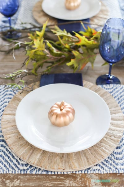 Splurge vs. Save Blue Thanksgiving Tablescape