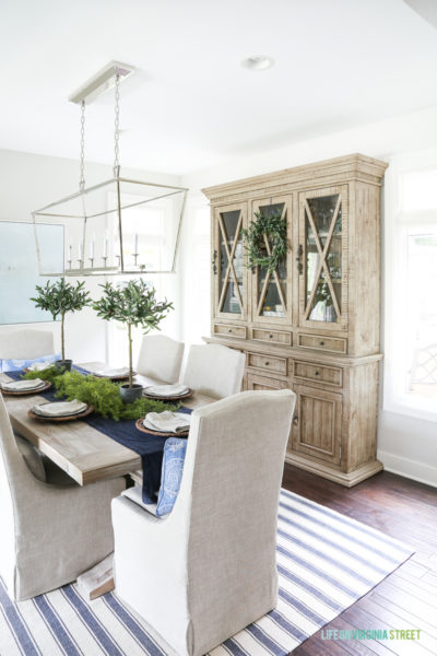 Blue and white dining room with reclaimed wood dining room hutch. This post offers several alternatives to this gorgeous piece, at a variety of price points.