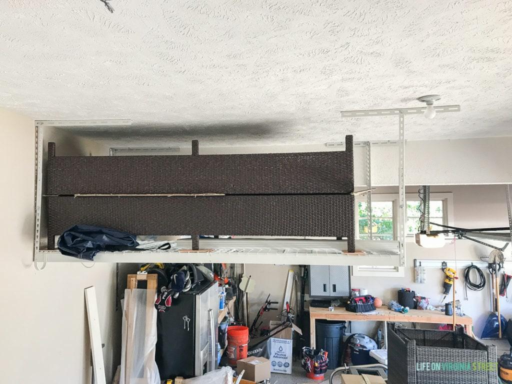 Overhead shelves in garage.