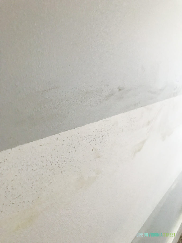 The sanded rough walls.