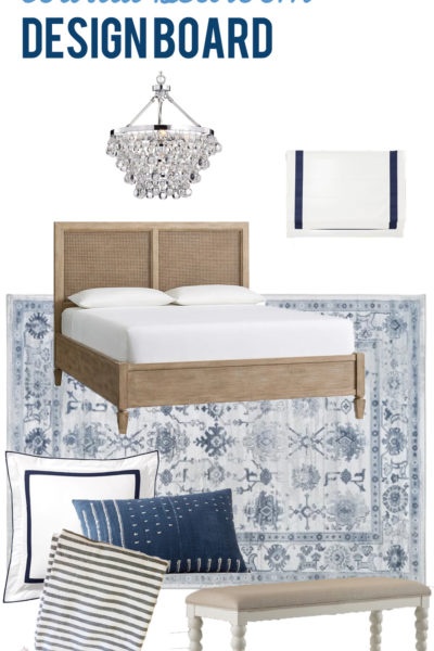 This gorgeous blue and white coastal bedroom design board offers the perfect plan and foundation to create a dream bedroom!