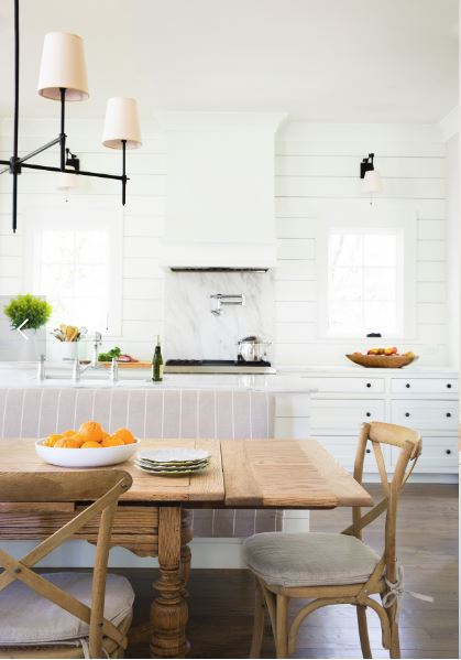 I'm in love with the white on white in this modern kitchen, especially the look of the shiplap walls. Shiplap walls don't have to be shabby chic!
