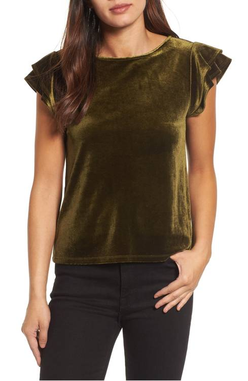 This cute flutter sleeve velvet top is perfect for the holidays!