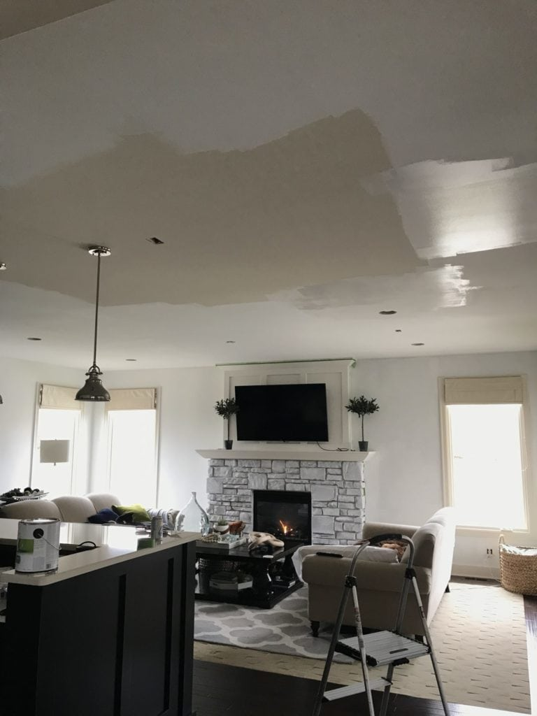 "I'm painting our living room ceiling white and I think I""m going to need two coats! You can see the coverage in this photo."